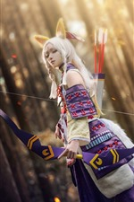 Preview iPhone wallpaper Beautiful Cosplay girl, fox, bow, forest