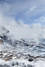 Gannan bonito, montanha, neve, vila, inverno, China