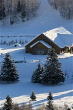 Preview iPhone wallpaper Beautiful Hemu Village in winter, thick snow, Xinjiang, China