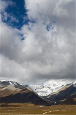 Preview iPhone wallpaper Beautiful Tibet, mountains, clouds, snow, nature landscape, China