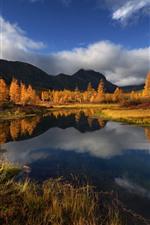 Beautiful autumn, trees, lake, mountains, Russia