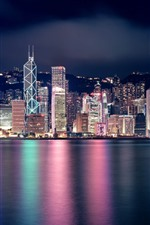 Preview iPhone wallpaper Beautiful city at night, Hong Kong, skyscrapers, lights, sea