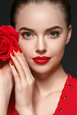 Beautiful girl, makeup, red rose