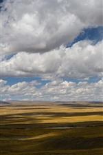 Preview iPhone wallpaper Beautiful grassland, clouds, sky, shadow, Tibet, China