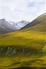 Beautiful nature landscape, Animaqing Snow Mountain, green slope, shadow, China