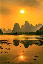 Beautiful nature landscape, Lijiang, mountains, sunshine, boat, morning, China