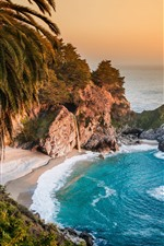 Preview iPhone wallpaper Beautiful nature landscape, sea, waterfall, beach, rocks, palm trees