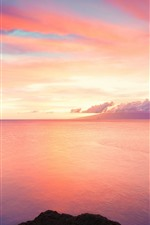 Preview iPhone wallpaper Beautiful sunset, red sky, sea, clouds, rocks