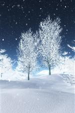 Belo mundo branco, árvores, neve, inverno, design 3D