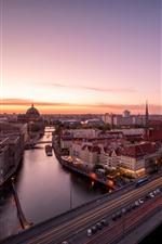 Preview iPhone wallpaper Berlin, Germany, city, bridge, river, cars, sunset