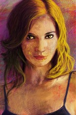 Preview iPhone wallpaper Blonde girl, art painting