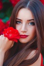 Preview iPhone wallpaper Blue eyes girl, brown hair, red flowers