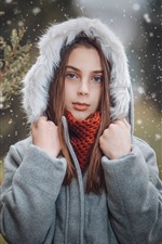 Preview iPhone wallpaper Blue eyes girl, coat, snowy, winter