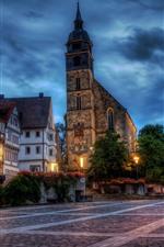 Boeblingen, Alemanha, cidade, casas, igreja, luzes, rua, noite