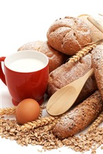Preview iPhone wallpaper Bread, cup, milk, eggs, white background