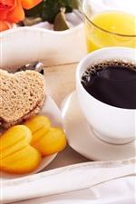 Breakfast, dessert, coffee, orange juice