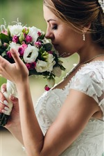 Preview iPhone wallpaper Bride, bouquet, flowers, girl, wedding