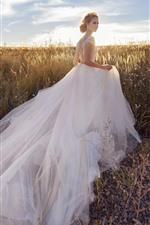Bride, white skirt girl, grass, sunshine