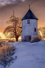 Preview iPhone wallpaper Canada, windmill, snow, sunset, winter