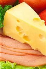 Preview iPhone wallpaper Cheese, tomatoes, bacon slice, vegetable