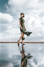 Cheongsam woman, water reflection, sky, clouds