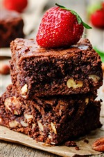 Chocolate and nuts, cake, strawberry