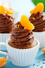Chocolate cupcakes, oranges