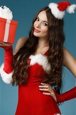 미리보기 iPhone 배경 화면 크리스마스 소녀, 빨간 치마, 선물