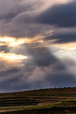 Chuanxi, Aba, fields, clouds, sun rays, China