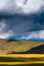 Preview iPhone wallpaper Chuanxi, grassland, mountains, clouds, shadow, China
