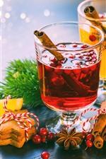 Preview iPhone wallpaper Cinnamon, drinks, cookies, berries, Christmas