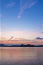 City, lake, dusk, sky
