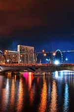 City, night, bridge, river, illumination