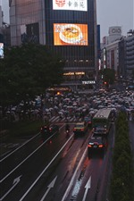 Preview iPhone wallpaper City, road, people, buildings, night, Japan