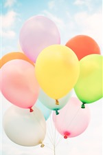 Preview iPhone wallpaper Colorful balloons, sky, white clouds
