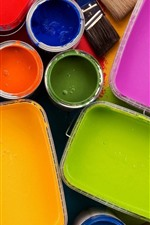 Preview iPhone wallpaper Colorful paint, brushes