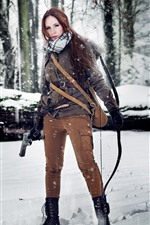 Preview iPhone wallpaper Cosplay girl, Tomb Raider, Lara, gun, bow, snow, trees