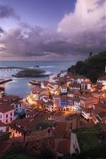 Cudillero, Spain, city, houses, dusk, lights, sea