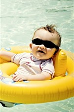 Cute baby, sunglasses, swim pool