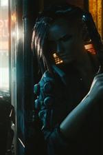Preview iPhone wallpaper Cyberpunk 2077, girl, gun, street