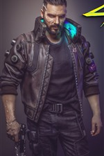 Preview iPhone wallpaper Cyberpunk 2077, man and girl