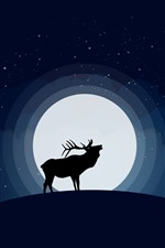 Preview iPhone wallpaper Deer and moon, night, art picture