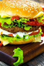 Preview iPhone wallpaper Delicious fast food, hamburger, tomatoes
