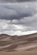 Desert, clouds, sky
