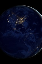 Earth at night, space, planet