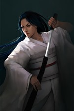 Fantasy Japanese girl, blue hair, sword