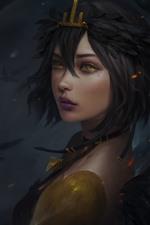 Fantasy girl, wings, yellow eyes