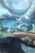 Fantasy world, future style, city, lake, creative design