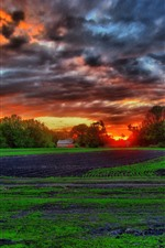 Preview iPhone wallpaper Farmland, fields, trees, hut, clouds, sunset