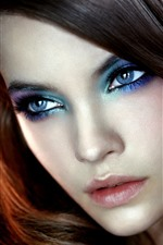 Preview iPhone wallpaper Fashion girl, makeup, face, eyes, hair style